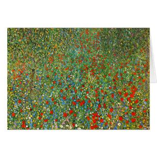 Carte de voeux de champ de pavot de Gustav Klimt