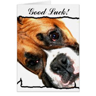 Carte de voeux de chien de boxeur de bonne chance