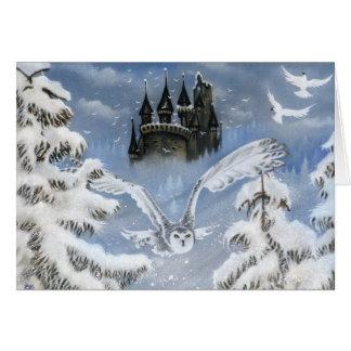 Carte de voeux de conte de fées d'hiver de château