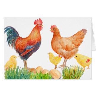 Carte de voeux de famille de poulet d'aquarelle