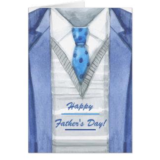 Carte de voeux de fête des pères de veste bleue