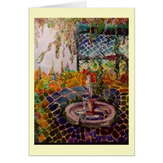 Carte de voeux de fontaine de jardin