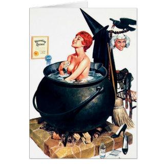 Carte de voeux de Halloween de sorcière de la