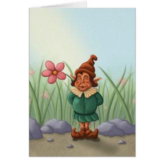 carte de voeux de jardin de gnome de fleur