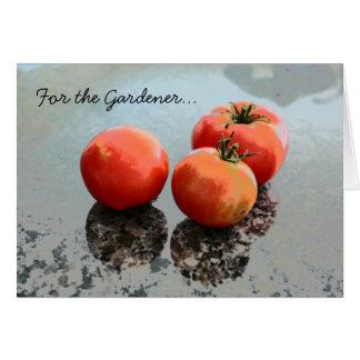 Carte de voeux de jardinage avec des tomates
