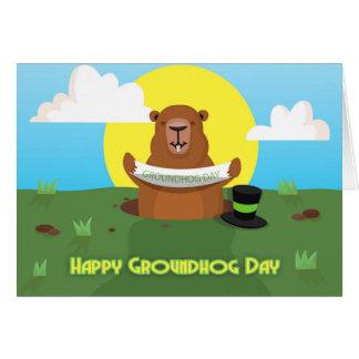 Carte de voeux de jour de Groundhog avec la