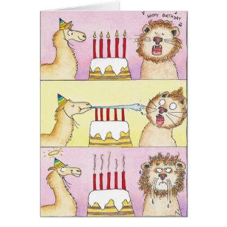 Carte de voeux de LAMA ET de LION par Nicole Janes