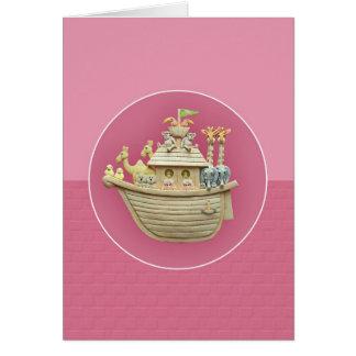 Carte de voeux de l'arche de Noé rose