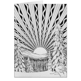 Carte de voeux de lever de soleil de Noël