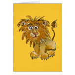 Carte de voeux de lion de bande dessinée
