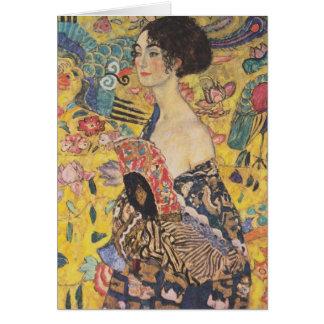 Carte de voeux de Madame With Fan de Gustav Klimt