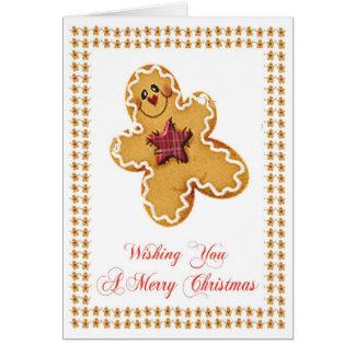 Carte de voeux de Noël de bonhomme en pain d'épice