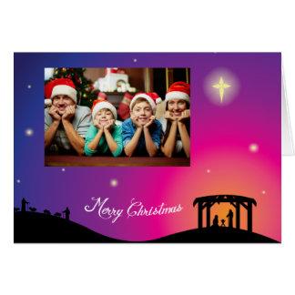 Carte de voeux de Noël de scène de nativité