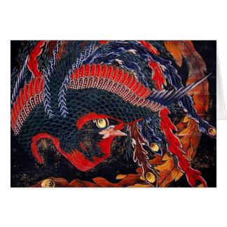 Carte de voeux de Phoenix de Japonais de Hokusai