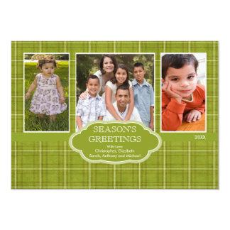 Carte de voeux de photo du plaid 3 de Noël de Carton D'invitation 12,7 Cm X 17,78 Cm