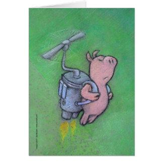 carte de voeux de porc de fusée