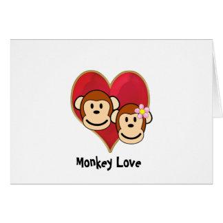 Carte de voeux de Saint-Valentin d'amour de singe