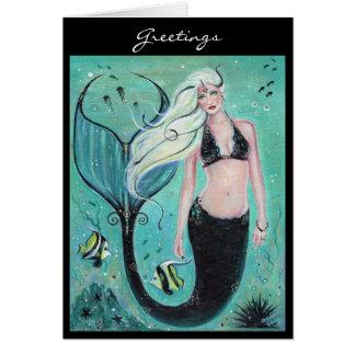 Carte Carte de voeux de sirène d'art d'imaginaire par