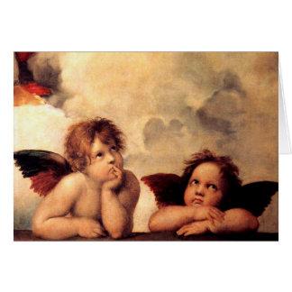 Carte de voeux de Sistine Madonna d'anges de