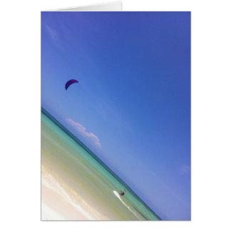 Carte de voeux de surfer de cerf-volant