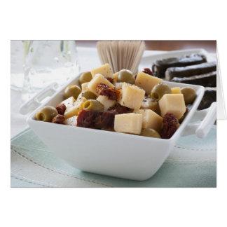 Carte de voeux de Tapas de fromage et d'olive