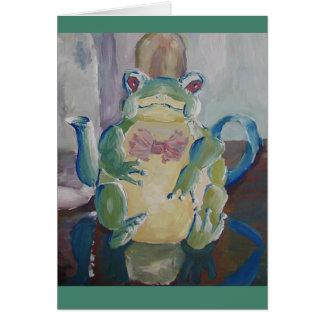 Carte de voeux de théière de grenouille
