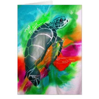 carte de voeux de tortue de mer, Maui, Hawaï,