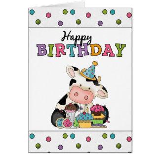 Carte de voeux de vache à anniversaire