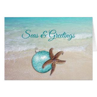 Carte de voeux des mers n d'étoiles de mer de Noël