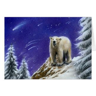 Carte de voeux d'ours de Pola de lumières du nord