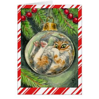 Carte de voeux drôle de chat de Noël