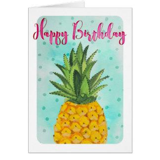 Carte de voeux du joyeux anniversaire | d'ananas