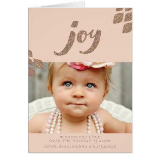 Carte de voeux en bronze de photo de Noël de joie