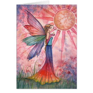 Carte de voeux féerique de soleil et d'arc-en-ciel