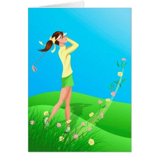 Carte de voeux femelle de ressort de golfeur