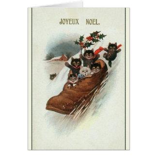Carte de voeux française vintage de Noël de chats