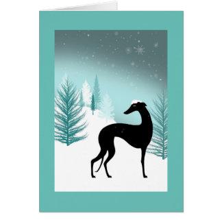 Carte de vœux Greyhound sous la neige