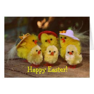 Carte de voeux heureuse de Pâques de poulets