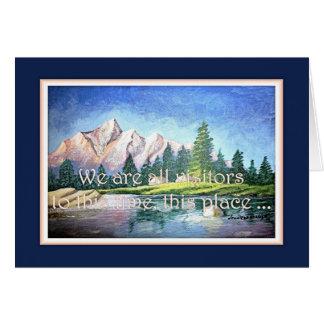 Carte de voeux inspirée bleue de montagne rose