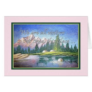 Carte de voeux inspirée de peinture de montagne