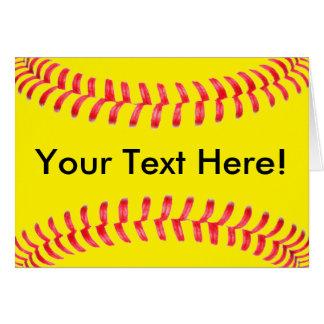 Carte de voeux jaune de Custum du base-ball de