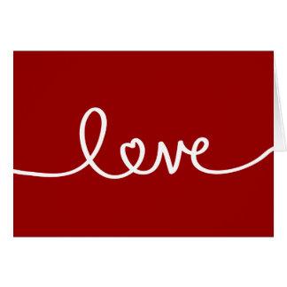 Carte de voeux manuscrite rouge d'amour