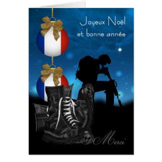 Carte de voeux militaire française de Noël avec
