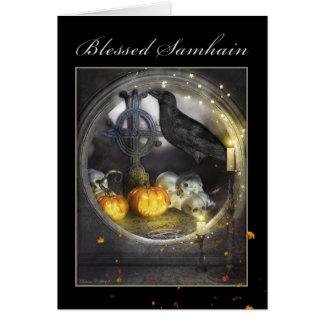 Carte de voeux mystique bénie de Samhain Raven