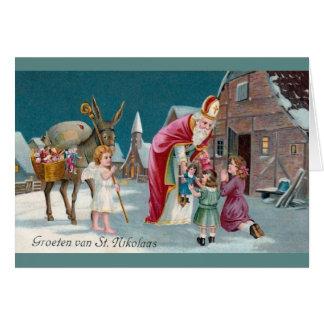 Carte de voeux néerlandaise vintage de Nikolaas de