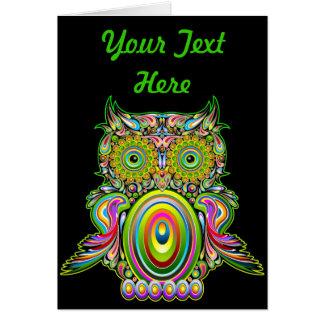 Carte de voeux psychédélique de Popart de hibou