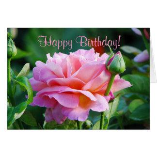 Carte de voeux rose d'anniversaire