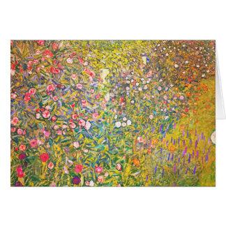 Carte de voeux rose de fleurs de Gustav Klimt