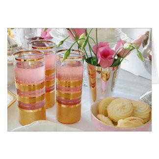 Carte de voeux rose de photographie de limonade,