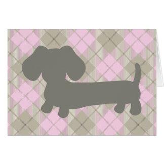 Carte de voeux rose de plaid de Dachshud de chien